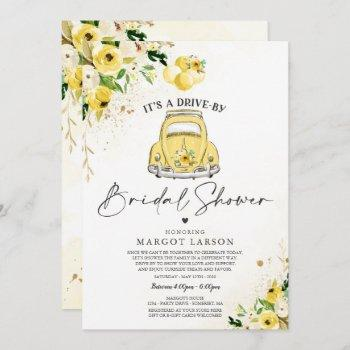 drive by bridal shower invitation yellow floral