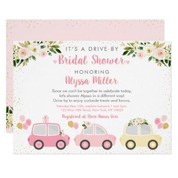 drive by bridal shower pink floral invitation