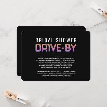 drive by bridal shower rainbow colors invitation