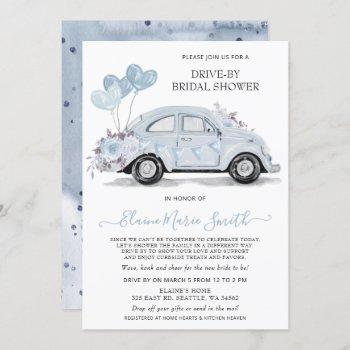 drive by bridal shower watercolor floral blue car invitation