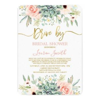 drive by succulents bridal shower invitation