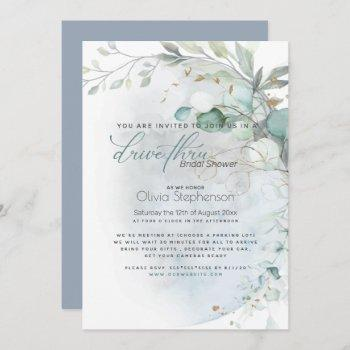 drive-thru bridal shower dusty blue over the moon invitation