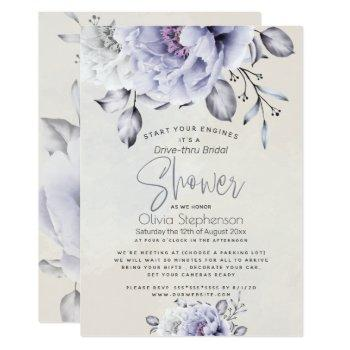 drive thru bridal shower | rustic lilac peony invitation