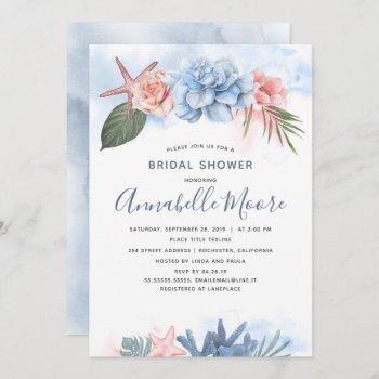 dusty blue and blush beach bridal shower invitation