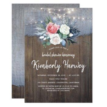 dusty blue and blush floral rustic bridal shower invitation