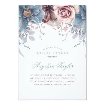 dusty blue and mauve floral bridal shower invitation