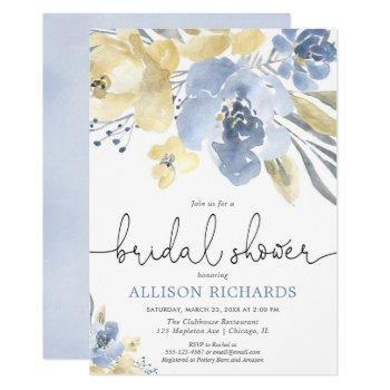 dusty blue and yellow floral bridal shower invitation