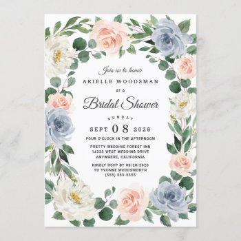 dusty blue blush pink peach floral bridal shower invitation