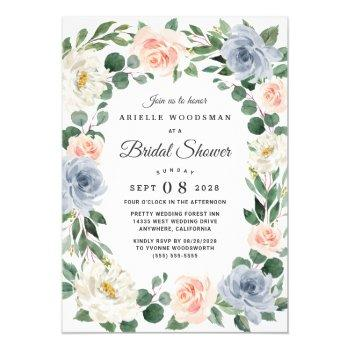 dusty blue blush pink peach floral bridal shower invitation