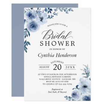 dusty blue bohemian floral bridal shower invitation