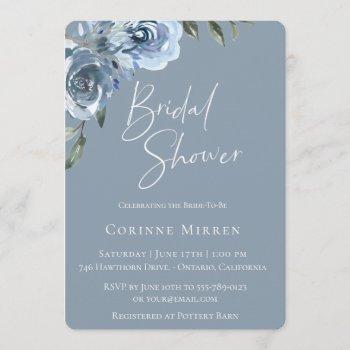 dusty blue botanical bridal shower invitation