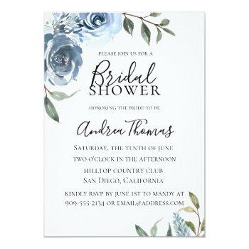 Dusty Blue Botanical Bridal Shower Invitation Front View