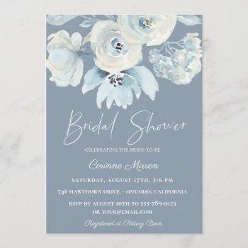 dusty blue botanical floral bridal shower invitation