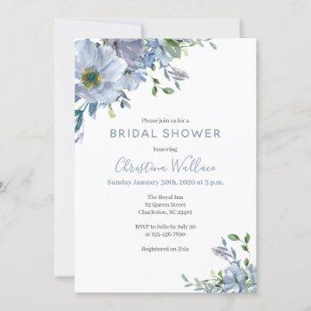 dusty blue bridal shower invitations