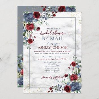 dusty blue burgundy floral bridal shower by mail invitation