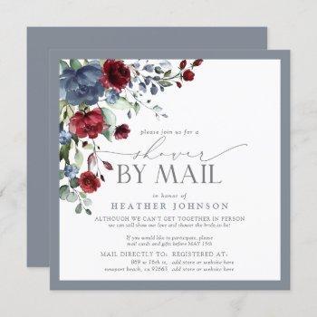 dusty blue burgundy floral bridal shower mail invitation