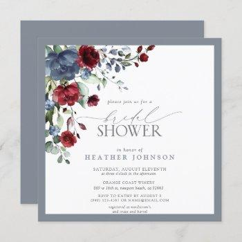 dusty blue burgundy red watercolor bridal shower invitation