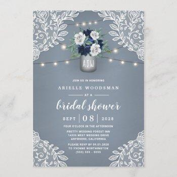 dusty blue country lace mason jar bridal shower invitation