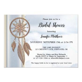 dusty blue dreamcatcher bridal shower invitation