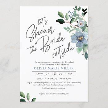 dusty blue drive by bridal shower invitation