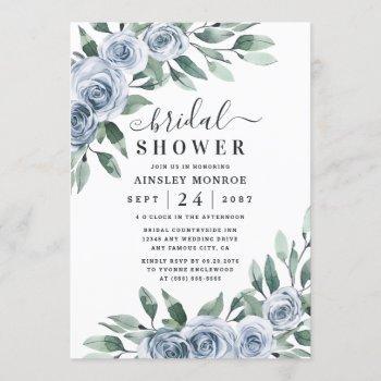 dusty blue elegant floral boho rose bridal shower invitation