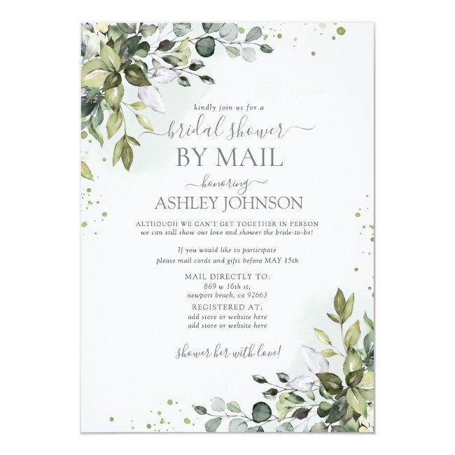 Dusty Blue Eucalyptus Script Virtual Bridal Shower Invitation