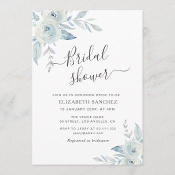 dusty blue floral bridal shower invitation