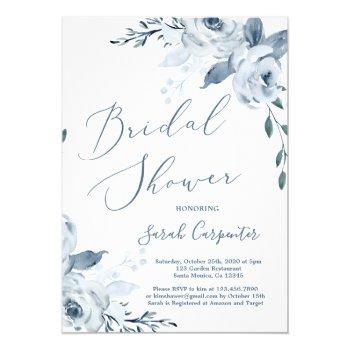 dusty blue floral bridal shower invitation