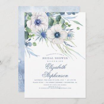 dusty blue floral greenery modern bridal shower invitation