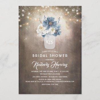 dusty blue floral mason jar rustic bridal shower invitation