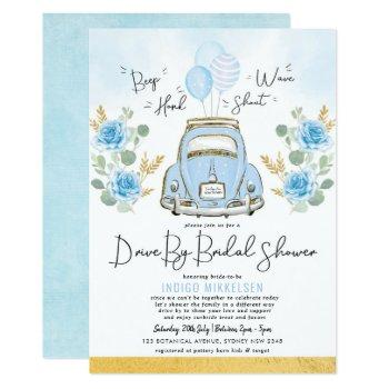 dusty blue floral retro car drive by bridal shower invitation