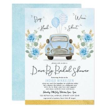 dusty blue floral retro car drive by bridal shower invitation
