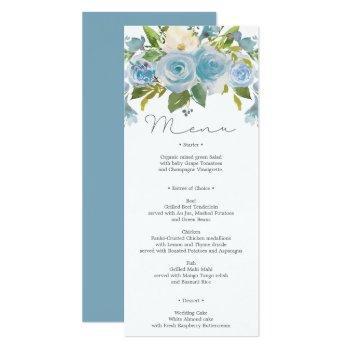 dusty blue floral wedding menu or shower menu invitation