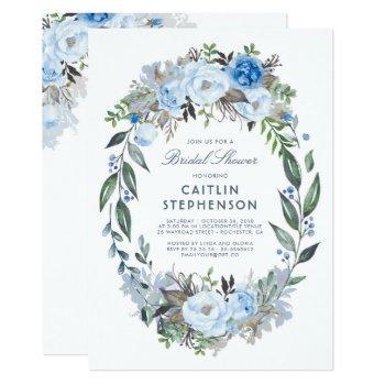 dusty blue floral wreath elegant bridal shower invitation