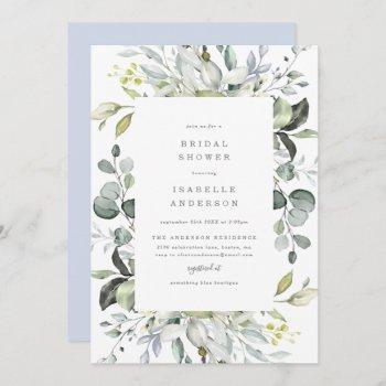 dusty blue florals bridal shower invitation