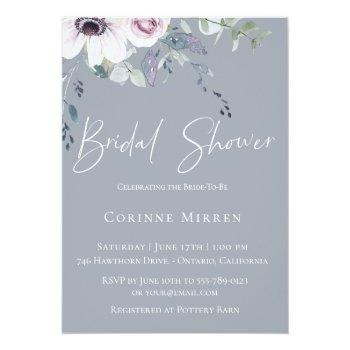 dusty blue garden floral bridal shower invitation