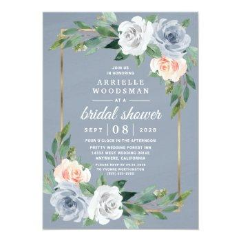 Dusty Blue Gold Blush Pink Peach Bridal Shower Invitation Front View