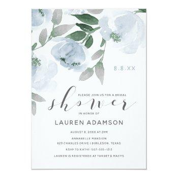 Dusty Blue & Gray Watercolor Bridal Shower Invitation Front View