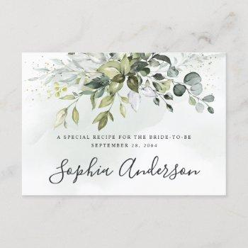 dusty blue greenery bridal shower recipe cards