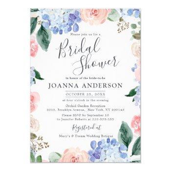 dusty blue hydrangeas pink roses bridal shower invitation