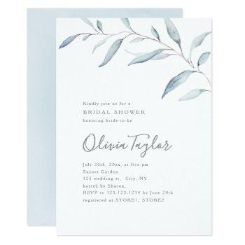 dusty blue minimal greenery bridal shower invitation