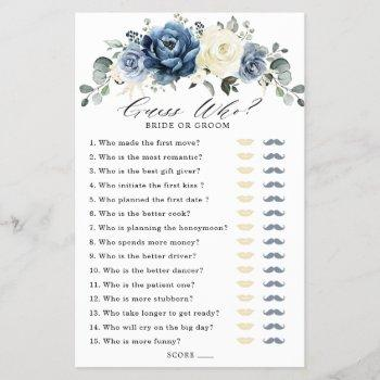 dusty blue navy champagne ivory bridal shower game