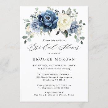 dusty blue navy champagne ivory bridal shower invitation