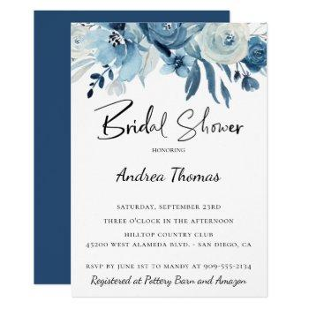 dusty blue navy floral bridal shower invitation