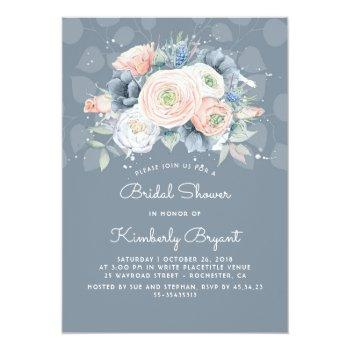 dusty blue peach and pink floral bridal shower invitation