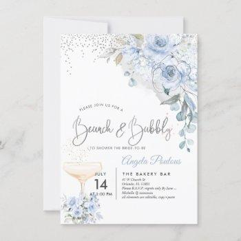 dusty blue watercolor roses brunch bubbly invitation