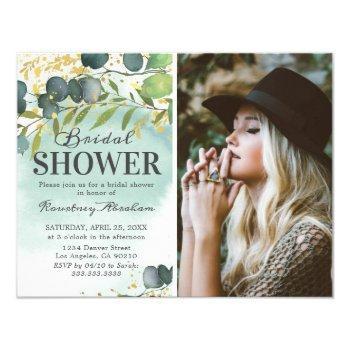 dusty eucalyptus gold photo bridal shower invitation