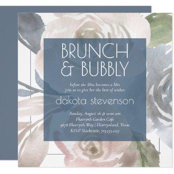 dusty floral   smoky pastel bubbly brunch shower invitation
