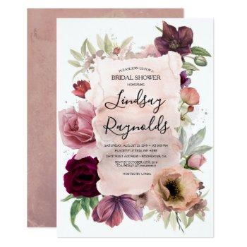 dusty pink burgundy floral vintage bridal shower invitation