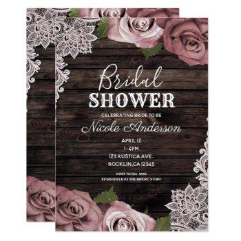dusty pink floral roses rustic wood bridal shower invitation